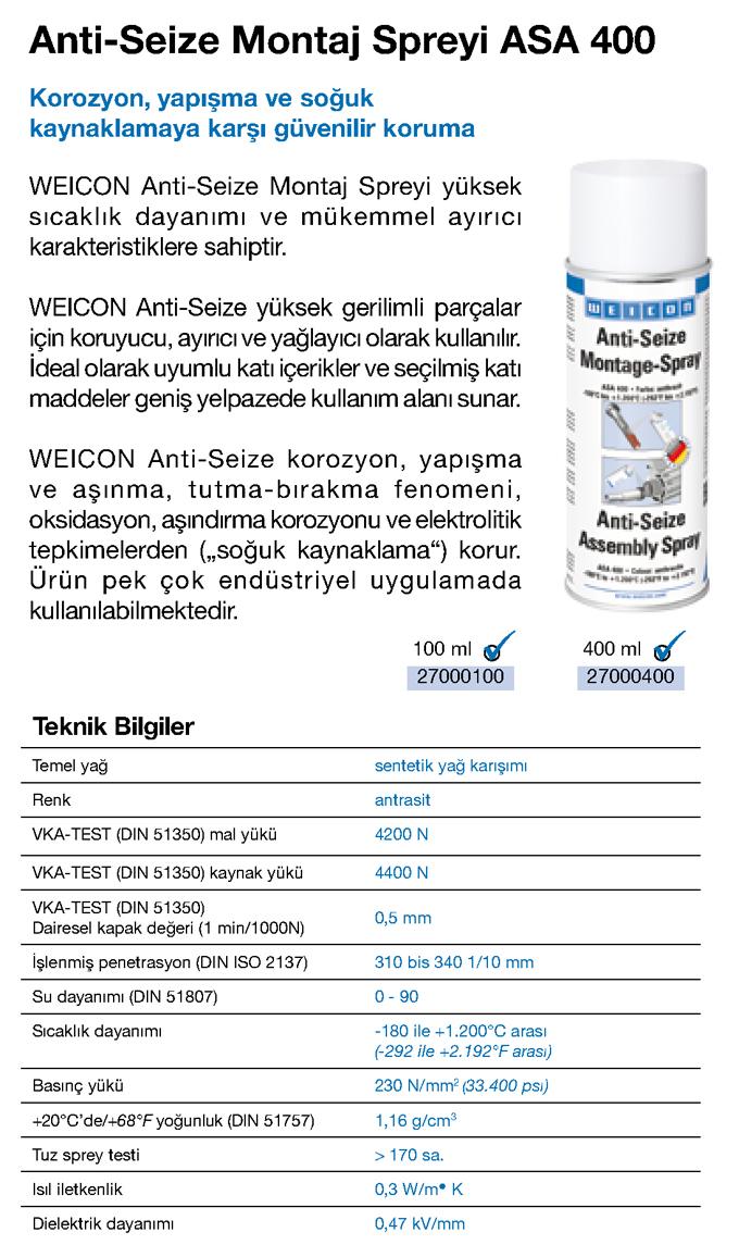 ASA 400 Anti-Seize 1200°C Montaj Spreyi - Weicon