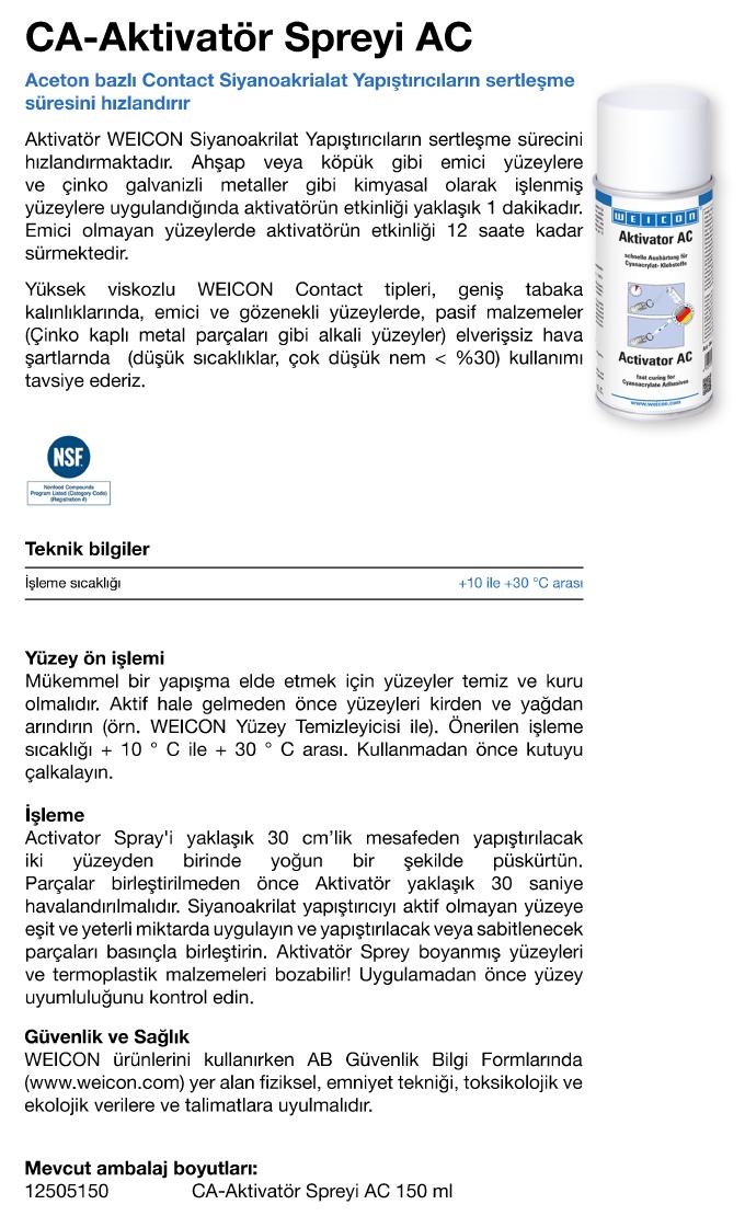 CA Contact Aktivatör Spreyi AC (Aseton Bazlı) - Weicon