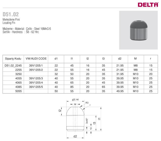 D51.02 MERKEZLEME PİMİ -DELTA