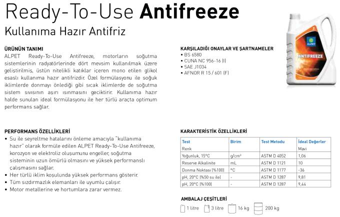 Antifreeze Kullanıma Hazır Antifriz - Alpet