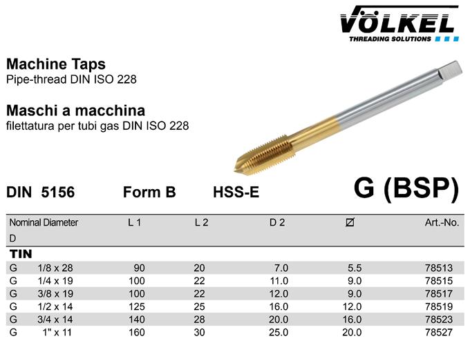 Makina Kıl. G(BSP) DIN5156 (Tin Kaplı) Form B-VÖLKEL