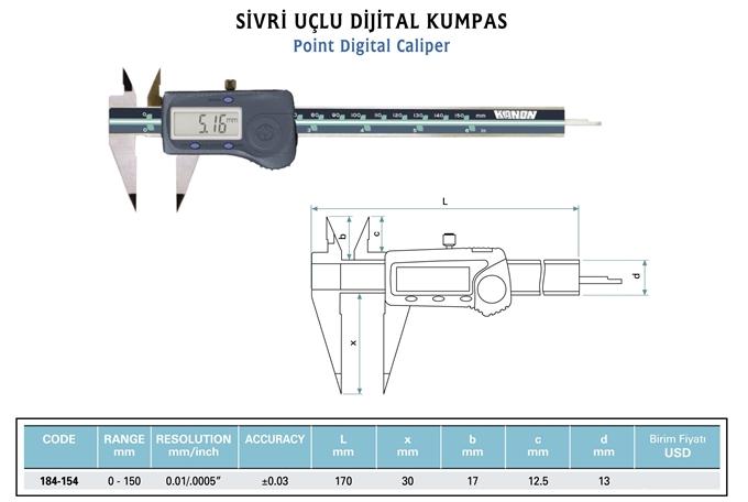 Dijital Kumpas Sivri Uçlu KANON 184-xxx