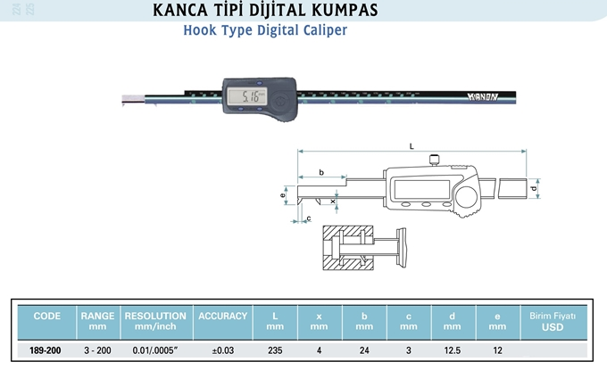 Dijital Kumpas KANON Kanca Tip 189-xxx