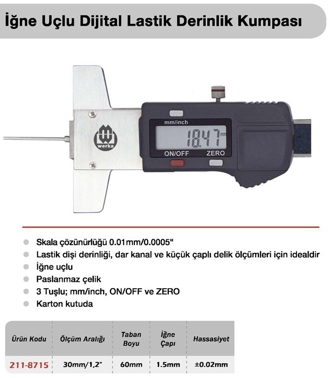 İğne Uçlu Dijital Lastik Derinlik Kumpası - Werka